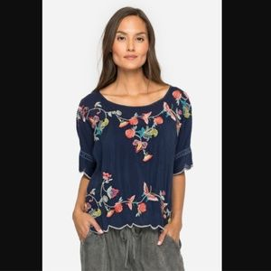 Johnny Was Alivia Blue Embroidered Floral Blouse